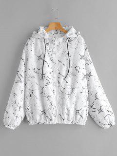 Marble Print Loose Hooded Windbreaker - White M