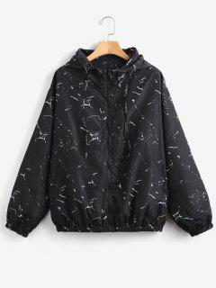 Marble Print Loose Hooded Windbreaker - Black L