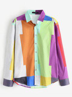 ZAFUL Color Block Button Up Shirt - Multi L