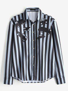 Camisa Casual Con Estampado De Rayas De Coches ZAFUL - Azul Gris S