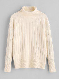 Ribbed Turtleneck Sweater - White