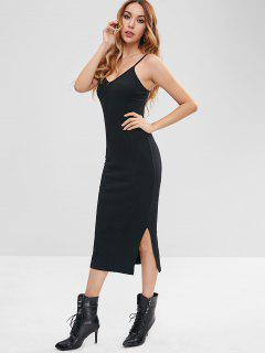 Slit Cami Ribbed Knit Bodycon Dress - Black