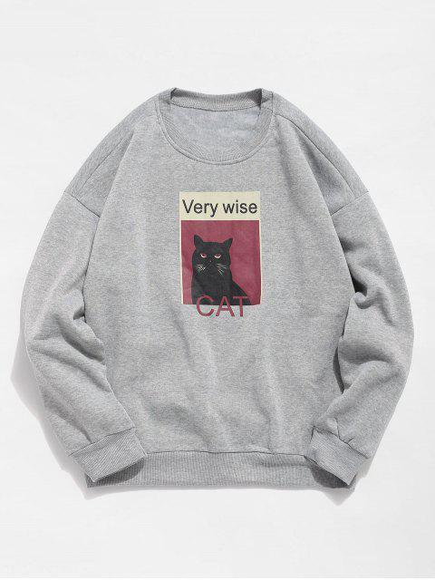 Katzen-Grafik-Fleece-Sweatshirt - Grau L Mobile