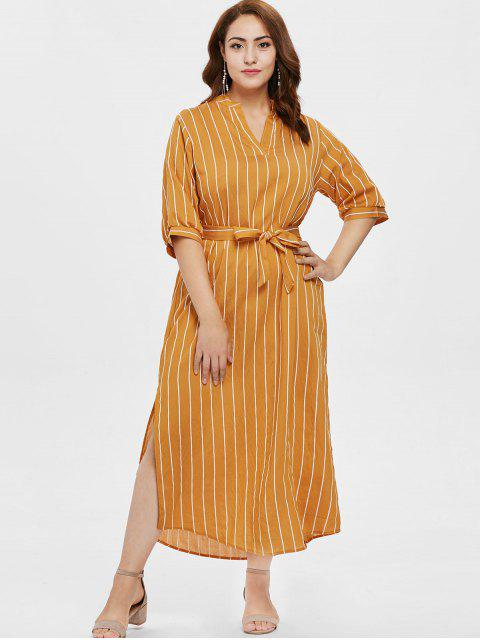 Robe taille haute à rayures fendue - Orange d'Or 1X Mobile