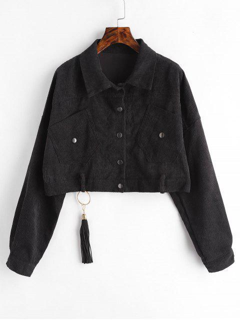 Cropped Snap Button Cordjacke - Schwarz Eine Größe Mobile