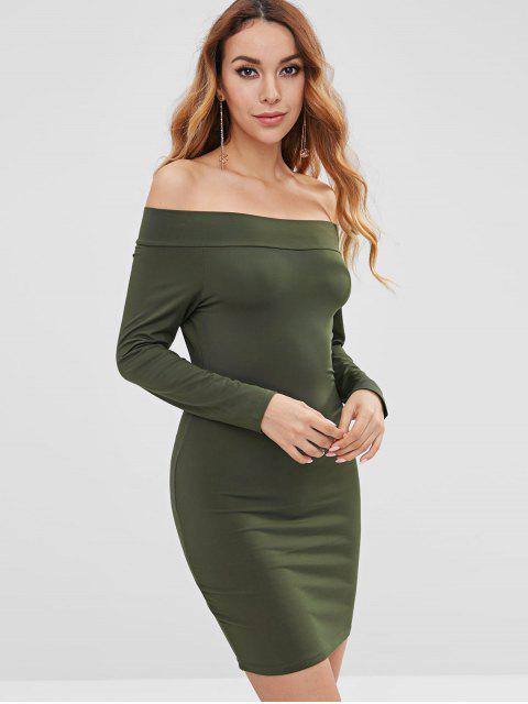 ladies Sheath Off The Shoulder Dress - DARK FOREST GREEN S Mobile