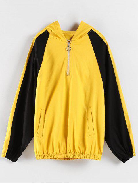 Sudadera con Capucha Color Bloque Cordones - Amarillo M Mobile