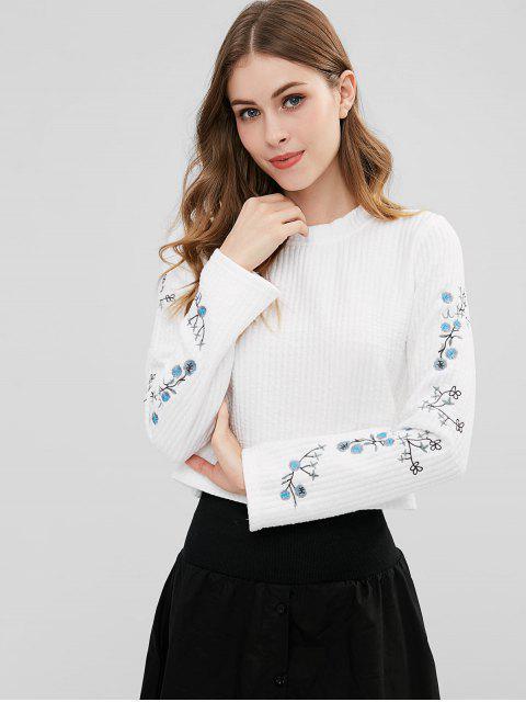 Strukturiertes besticktes Sweatshirt - Weiß Eine Größe Mobile