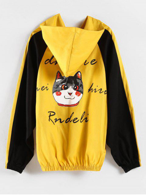 online Color Block Graphic Boyfriend Hoodie - YELLOW S Mobile