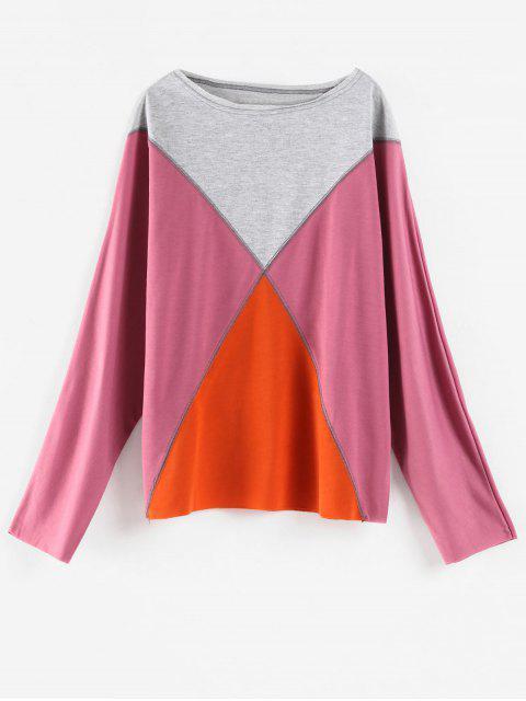 Farbblock übergroßes T-Shirt - Pflaume XL  Mobile