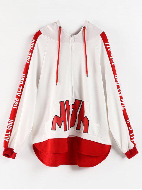 Hoch niedriger Grafik Zip Hoodie - Weiß M Mobile