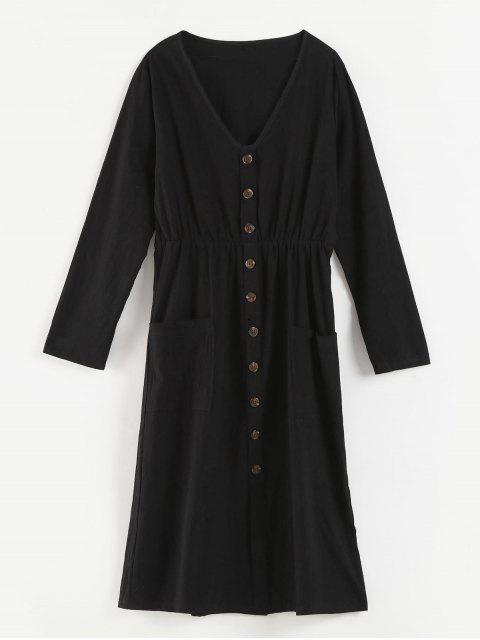 V-Ausschnitt Knöpfe verziert Kleid - Schwarz L Mobile