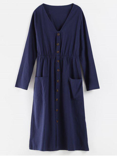 V-Ausschnitt Knöpfe verziert Kleid - Kadettenblau L Mobile