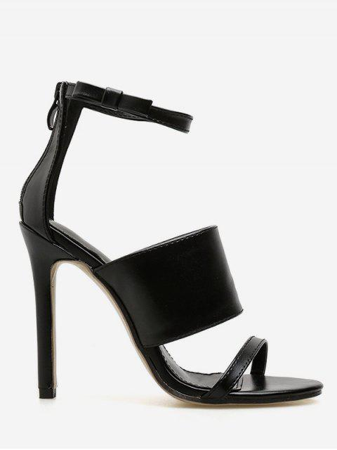 trendy Stiletto Heel Ankle Strap Sandals - BLACK EU 38 Mobile