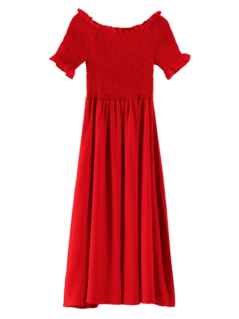 online Plus Size Ruffles Smocked Dress - RED 3X Mobile