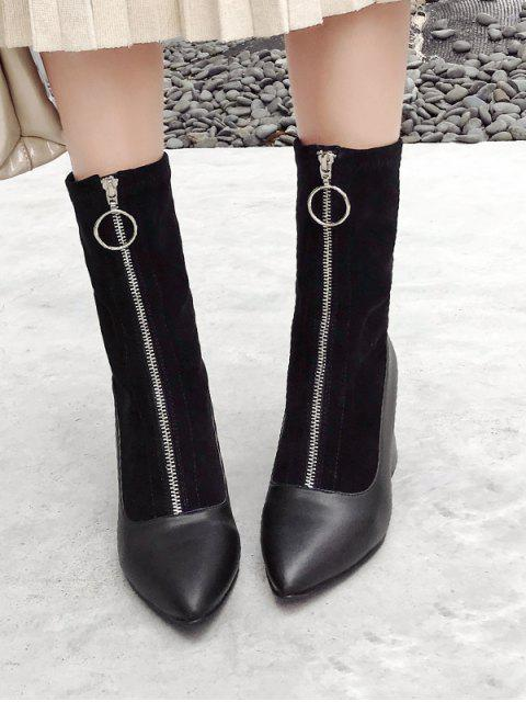 shops Front Zip Chunky Heel Pointed Toe Patch Boots - BLACK EU 38 Mobile