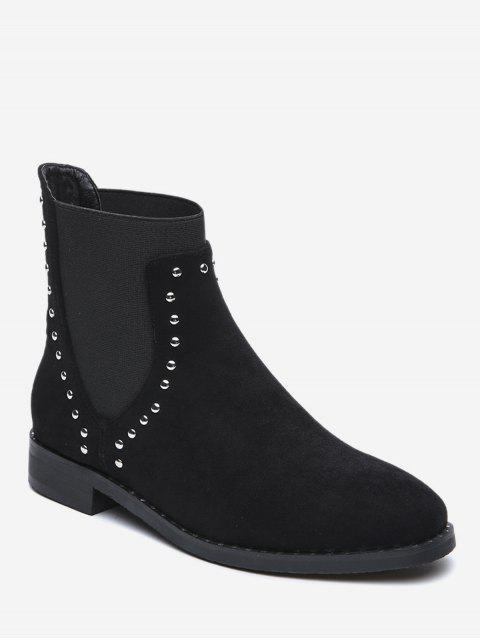 women Stud Decorative Suede Ankle Boots - BLACK EU 36 Mobile