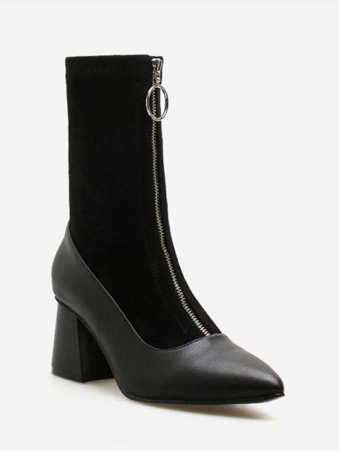 online Front Zip Chunky Heel Pointed Toe Patch Boots - BLACK EU 40 Mobile