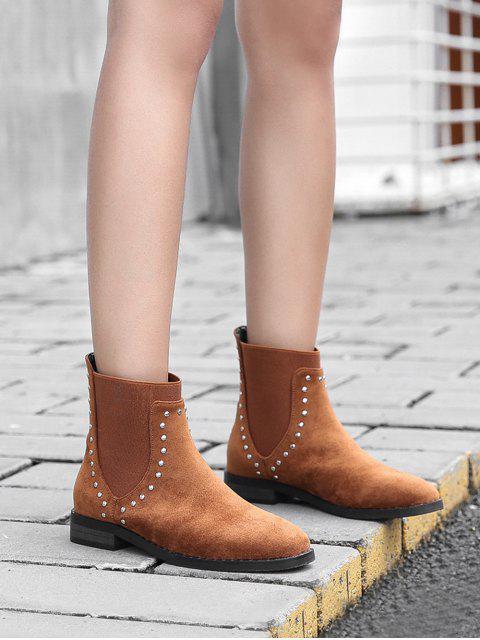 shop Stud Trim Round Toe Chelsea Ankle Boots - BROWN EU 40 Mobile