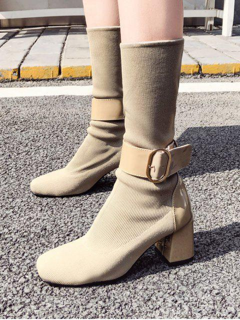 fancy Belted Accent Square Toe Mid Calf Sock Boots - APRICOT EU 37 Mobile