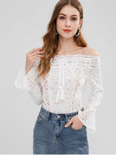 affordable Anglaise Broderie Off The Shoulder Top - WHITE M Mobile