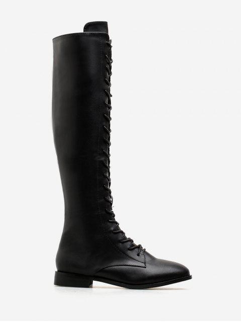 best PU Leather Lace Up Knee High Boots - BLACK EU 38 Mobile