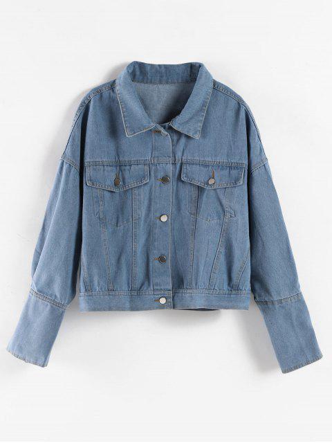 Drop Shoulder-Knopf-oben Jeansjacke - Denim Blau Eine Größe Mobile