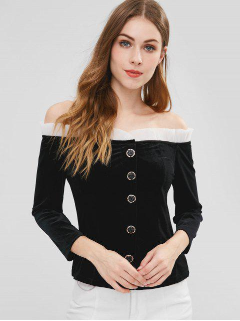 Perlen Knöpfe aus der Schulter Samt Top - Schwarz XL  Mobile