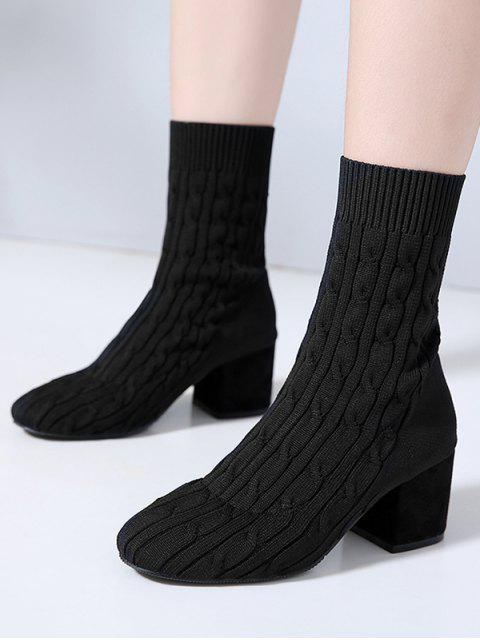 best Cable Knit Chunky Heel Sock Boots - BLACK EU 37 Mobile