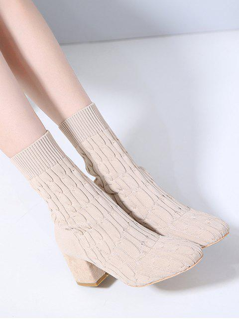 shop Cable Knit Chunky Heel Sock Boots - WARM WHITE EU 38 Mobile