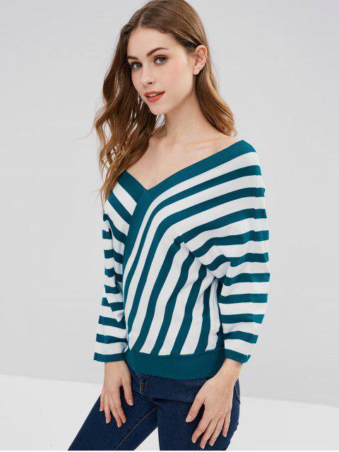 women Batwing Sleeve Striped Sweater - MULTI ONE SIZE Mobile