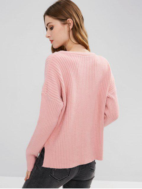 ladies Ribbed High Low Self Tie Sweater - LIGHT PINK ONE SIZE Mobile