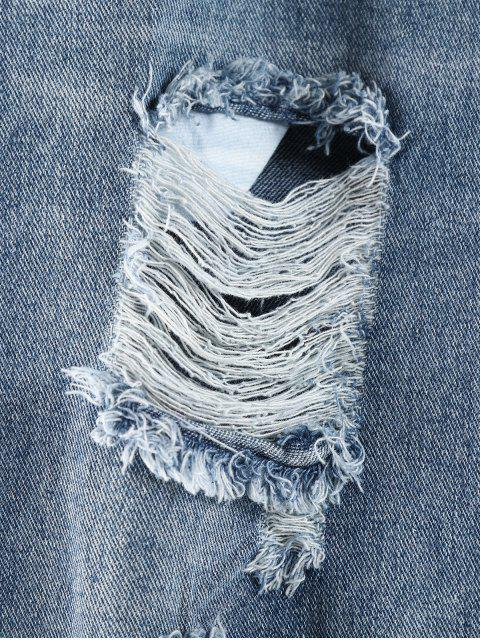 Vaqueros ocasionales desgastados con dobladillo sin rematar - Azul de Jeans  XL Mobile