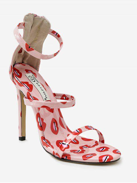 affordable Printed Stiletto Heel Ankle Strap Sandals - LIGHT PINK EU 37 Mobile