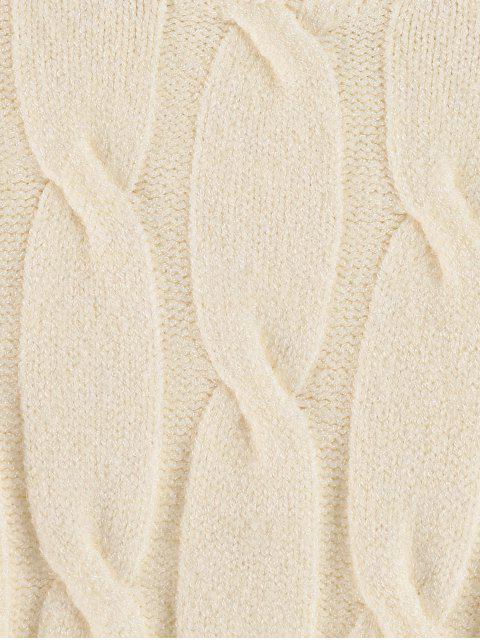 Pull Epaule Dénudée en Tricot à Câble - Blanc de Crème  Taille Unique Mobile