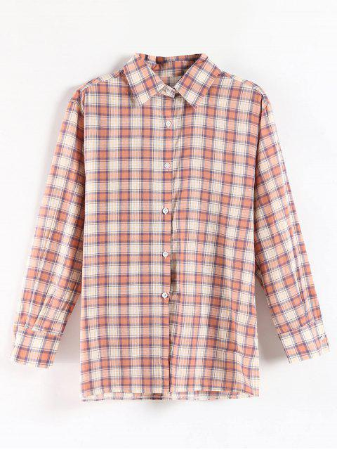 outfit Side Slit Plaid Tunic Shirt - MULTI ONE SIZE Mobile