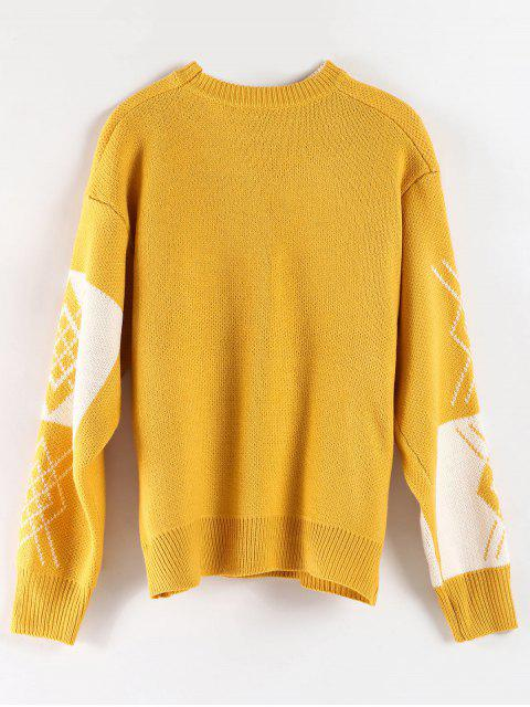 latest Oversized Crew Neck Graphic Sweater - BRIGHT YELLOW ONE SIZE Mobile