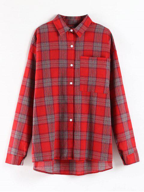 格子縞のポケット特大チュニックシャツ - 赤 ワンサイズ Mobile