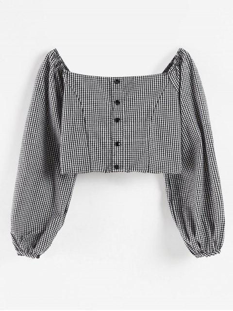 Blusa de Cuello Cuadrado de Cuadro Vichy - Negro L Mobile
