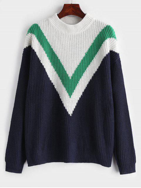 Zig Zag Drop Shoulder Sweater - Azul Marino L Mobile