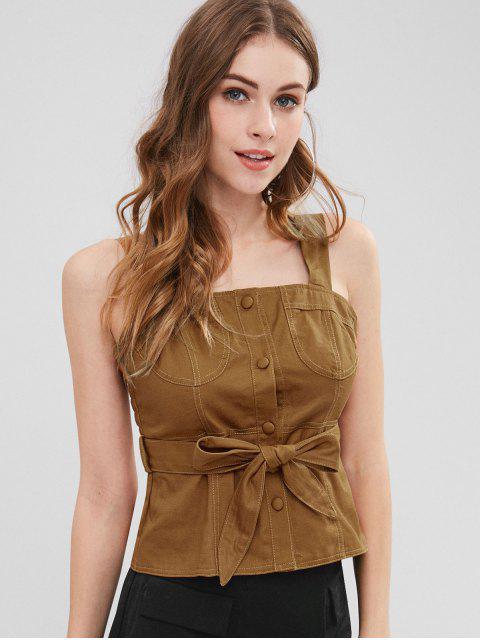 Camiseta sin mangas con cinturón y cuello cuadrado Smoked - Marrón L Mobile