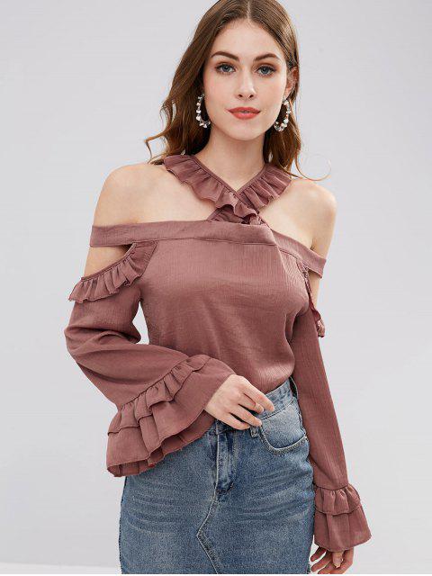 Blusa con volantes de hombros fríos - Rojo Cereza M Mobile