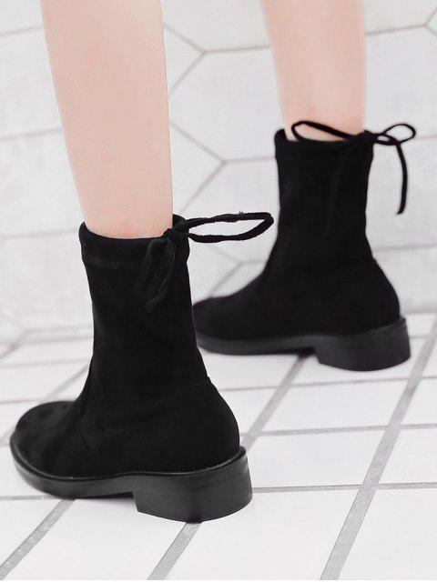 affordable Bow Tie Back Flat Short Boots - BLACK EU 37 Mobile