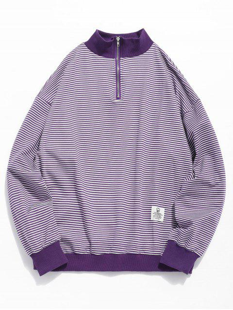 Sudadera a rayas con cuello redondo - Púrpura L Mobile
