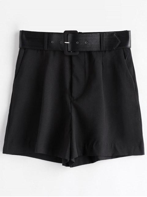 Pantalones cortos de pierna ancha con cinturón y cintura alta - Negro L Mobile