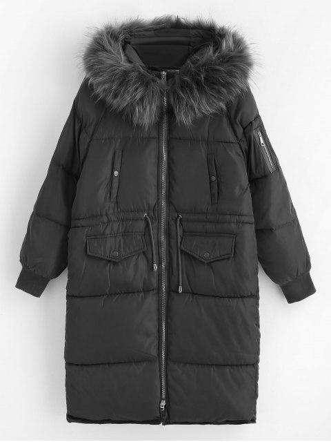 Abrigo de invierno acolchado largo de capucha de piel sintética - Gris XL Mobile