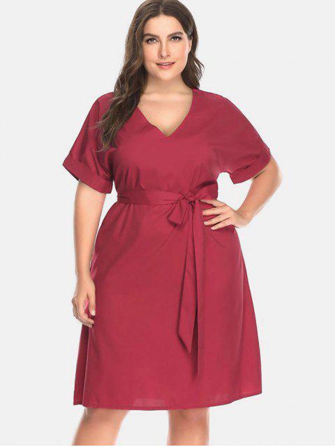 latest Belt Cuffed Plus Size Dress - CHERRY RED 3X Mobile