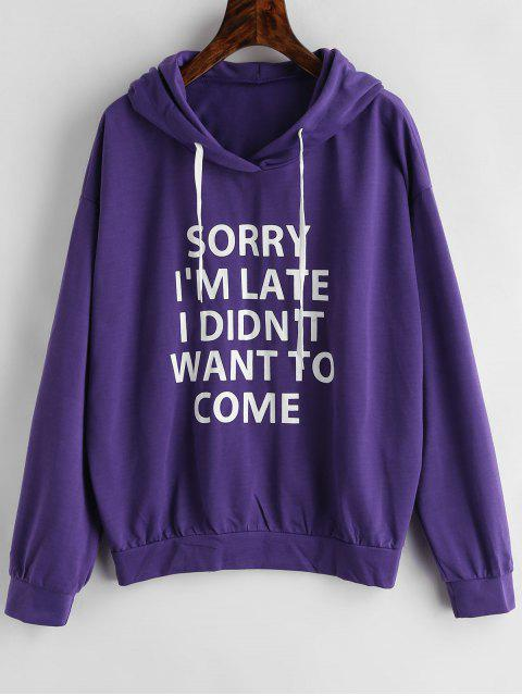 Letra Drop Shoulder Drawstring Hoodie - Amatista Morada XL Mobile