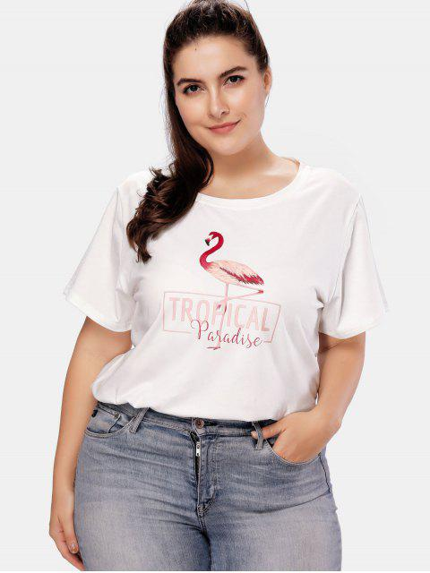 T-shirt Flamingo Graphic Plus Size - Blanc 2X Mobile