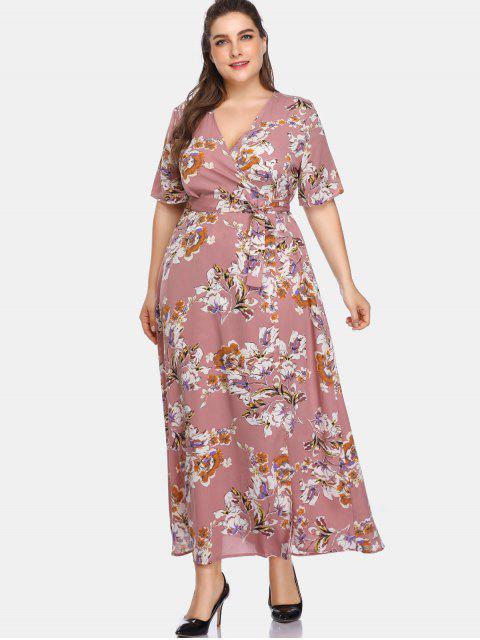 Maxi Robe Florale Enveloppée de Grande Taille - Rouge à Lèvres Rose 4X Mobile